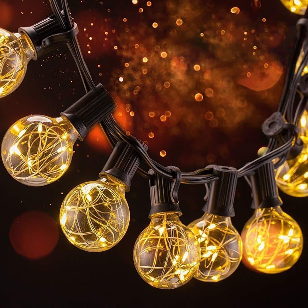 Catena Luminosa Lampadina, Stringa Luci con 31LED G40 Bulbi Bianco Caldo, Catene Luminose 31 lampadine, Lucine Decorative impermeabile IP44, filo rame dentro lampadine, Illuminazione Giardino Luci Stringa Lampadina per Interno/Esterno, giardino, patio, cor