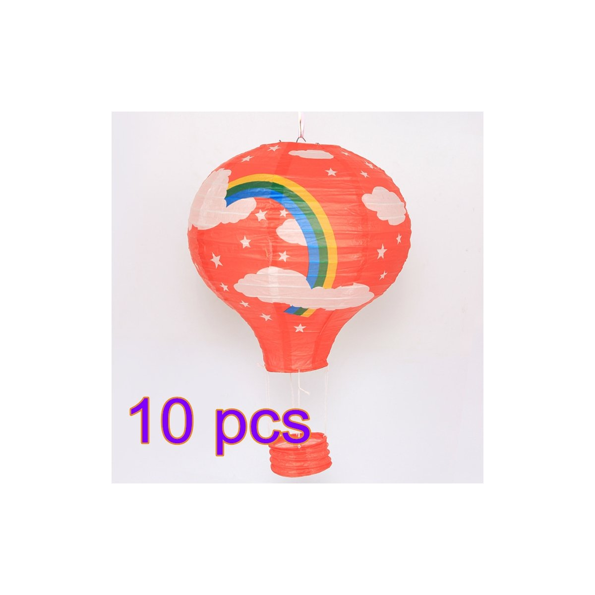 TRIEtree 10ps Hot Air Balloon Paper Lanterns for Christmas Wedding Birthday Party Nursery Decoration Party Decor (Red background Rainbow)