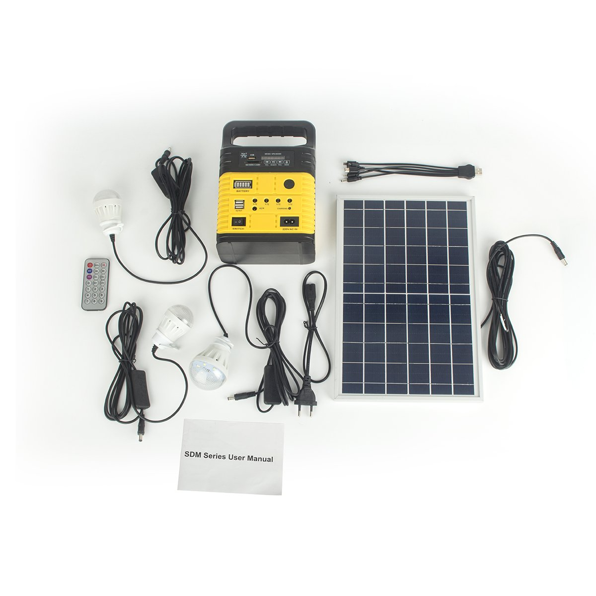 DODOING Solar Power Generator Portable kit, Solar Generator System for Home Garden Outdoor Camping, Power Mini DC6W Solar Panel 6V-9Ah Lead-acid Battery Charging LED Light USB Charger System by DODOING (Image #2)