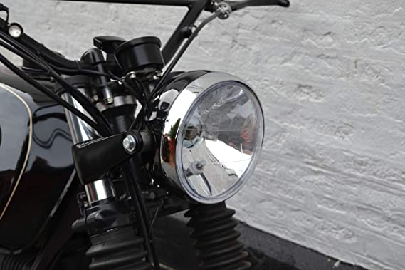 Leggero Moto 7.7  Faro Nero Lucido Cromata Corona 12V 55W per Cafe Racer /& Scrambler
