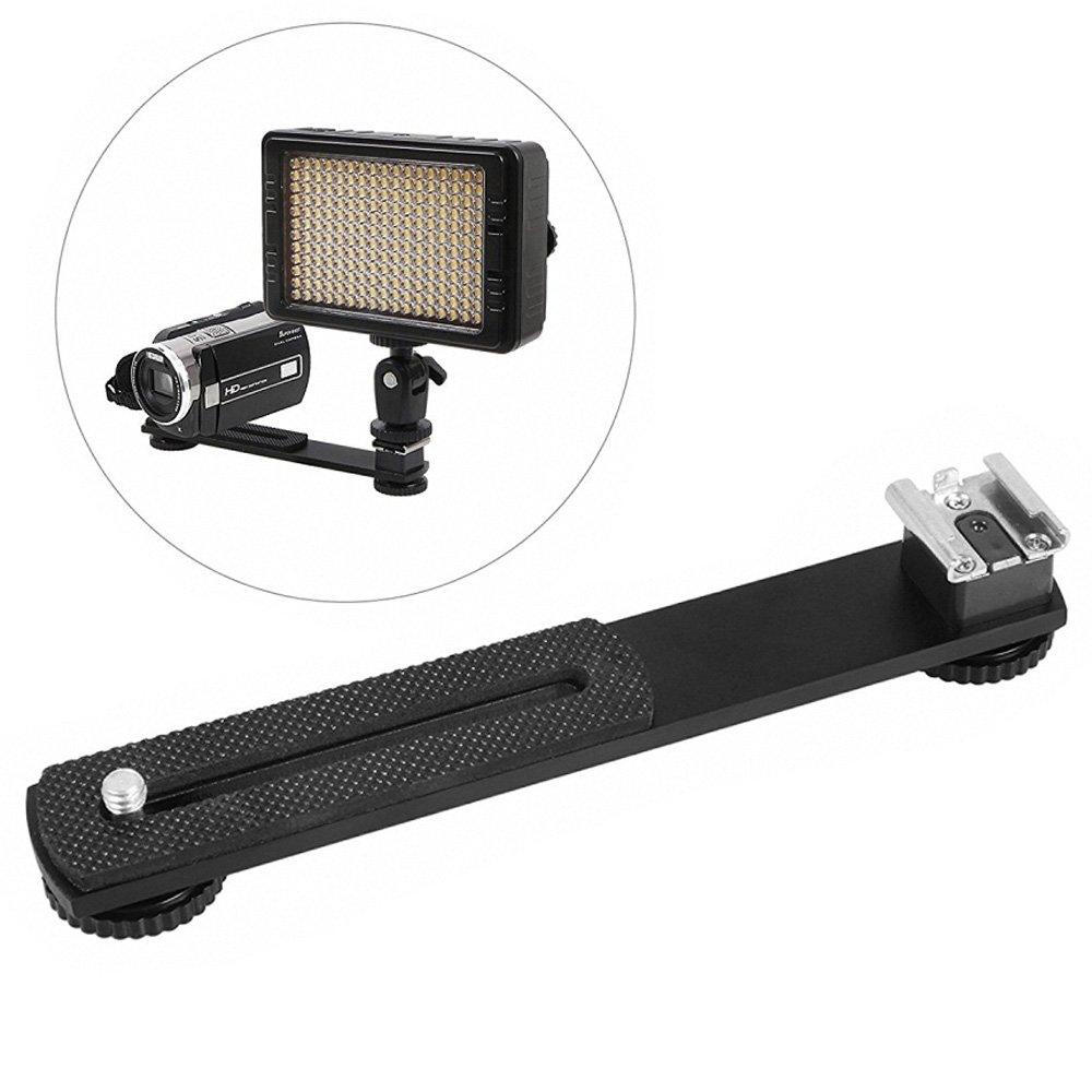 Mekingstudio Extension Bar Dual Straight Flash Bracket Hot Shoe Mount for DV Video Light Camera