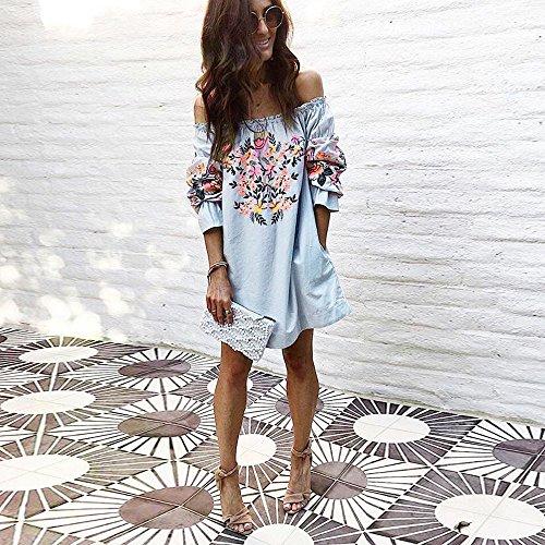 Dress Summer Beach Temprament S Mode Off Mot Floral paule Lilicat Party Mini XL Ladies paule Broderie Robe Femmes Blue qS0cA