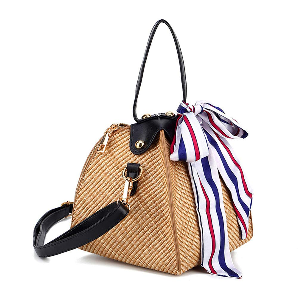 KUDYN Hand Knitted Silk Scarf Straw Bag Round Diagonal Shoulder Bag Handbag Beach Small Square Bag Leather Strap Natural Chic