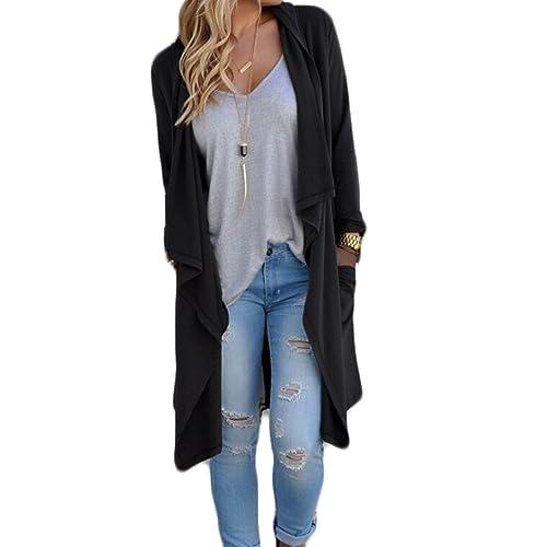 Mujer Otoño manga larga Color Sólido Irregular Suelto casual Coat Cárdigan Jacket Top Sportswear reb...