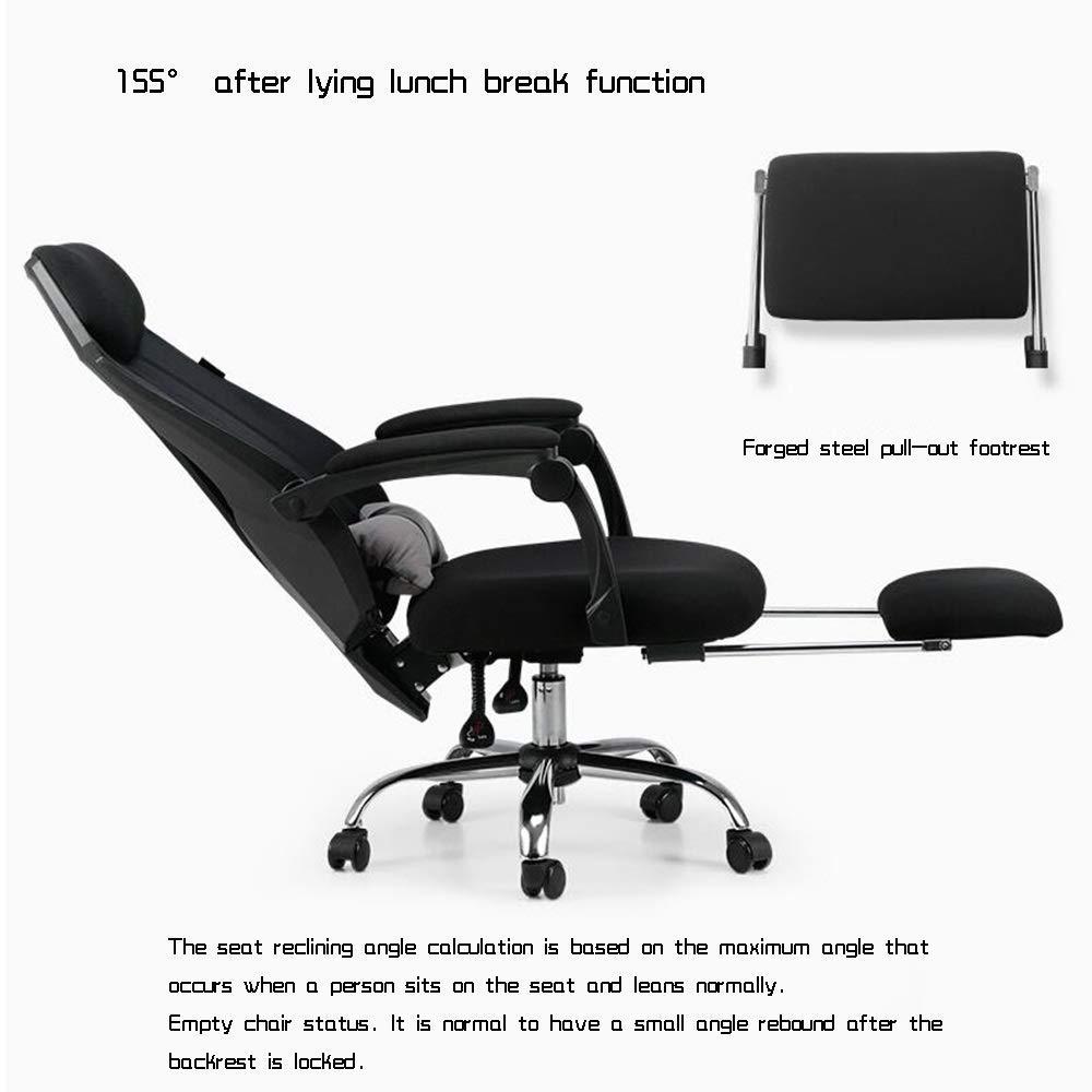 JIEER-C stol kontor spelstol, ergonomisk svängbar stol nätsäte med fotstöd vilande sportspel stol stol säte bärande kapacitet: 150 kg, vit Svart