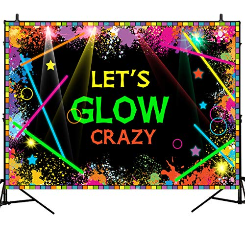 Mehofoto Let's Glow Backdrops Glow in The Dark Birthday Party Banner Decoration 7x5ft Vinyl Laser Neon Splatter Paint Photo Booth Backdrops