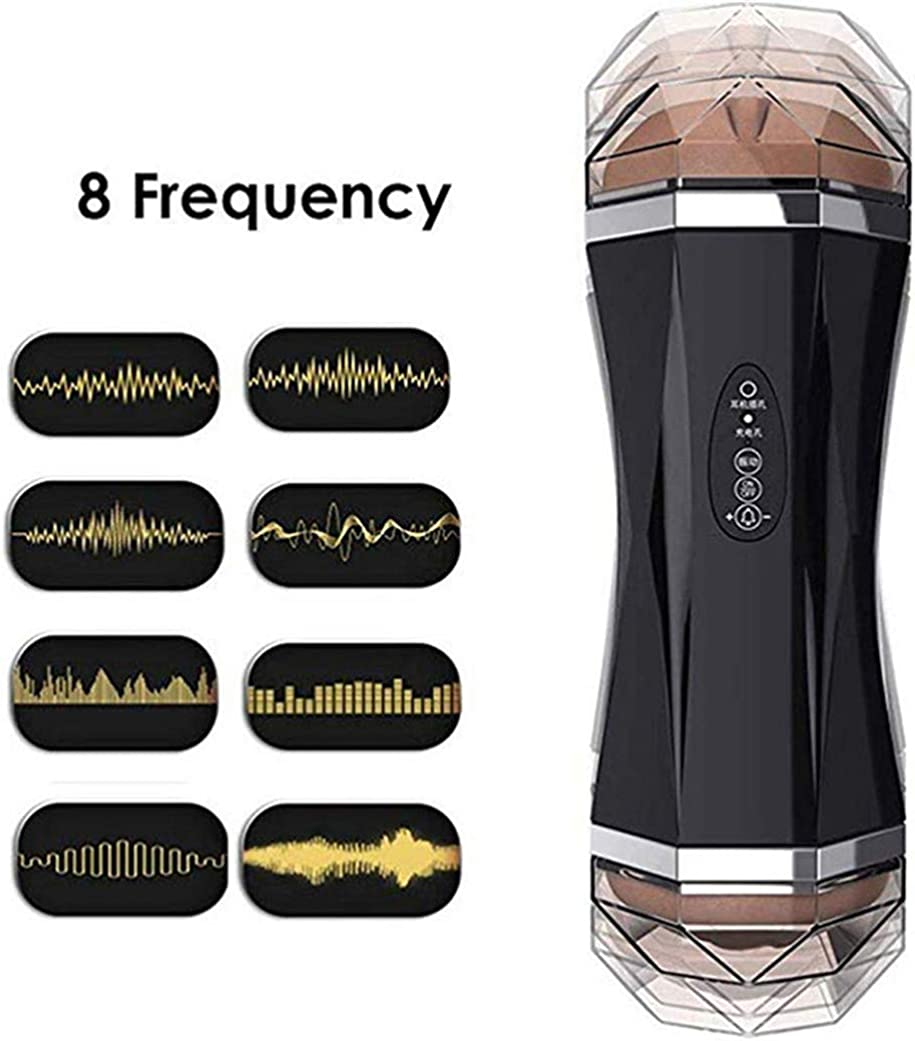 Double Head 2 in 1 Mens Luxury Sucking 3D Hands-Free Toy Safe 8 Speed Automatic Sucking Realistic Sound The Most Realistic Experience Black