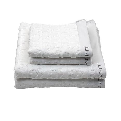 GANT Home terciopelo Star Toalla, 100 % algodón, blanco, 50 x 100 cm
