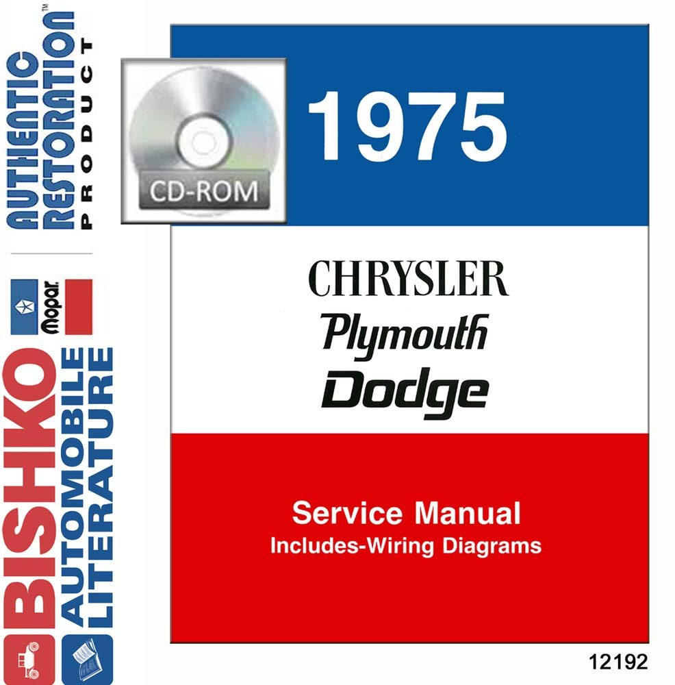 Bishko Automotive Literature 1975 Chrysler Dodge Plymouth Valiant Wiring Diagram Shop Service Repair Manual Cd Engine Oem