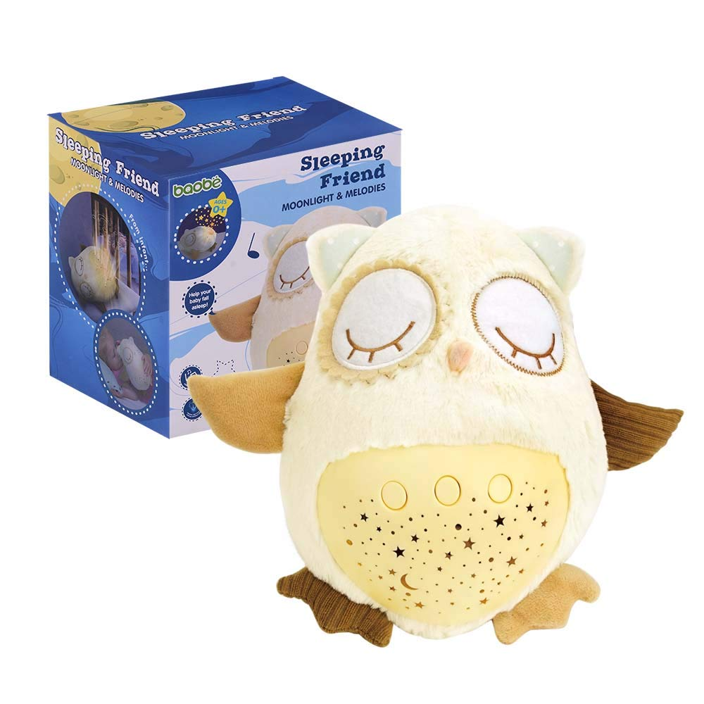 Plush Soother Owl, Sleep Soother Owl Plush Nightlight Projector for Baby, 8 Baby-Soothing Sounds, Amniotic Fluid Sounds, Adjustable Volume Baobë