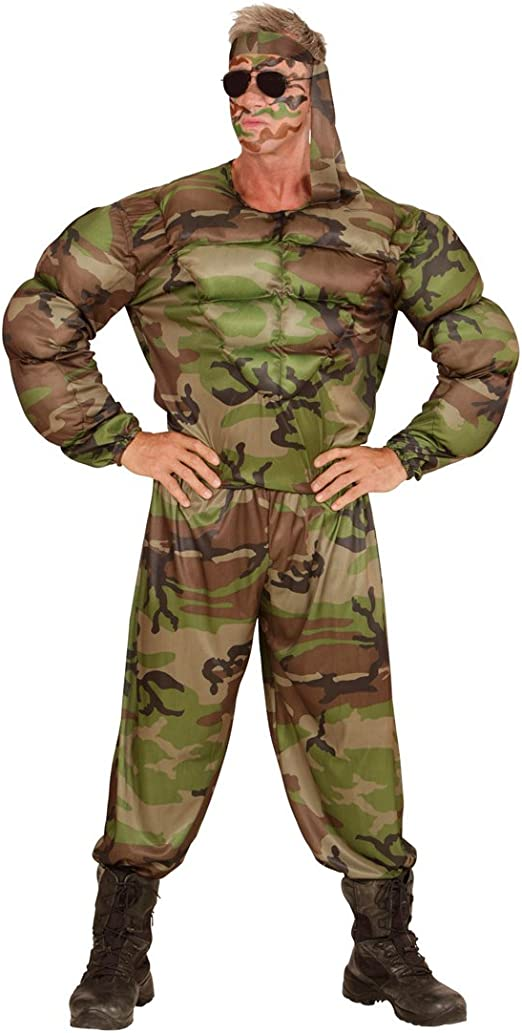 Traje Hombre Militar Disfraz Soldado musculoso S 48 Vestimenta con ...