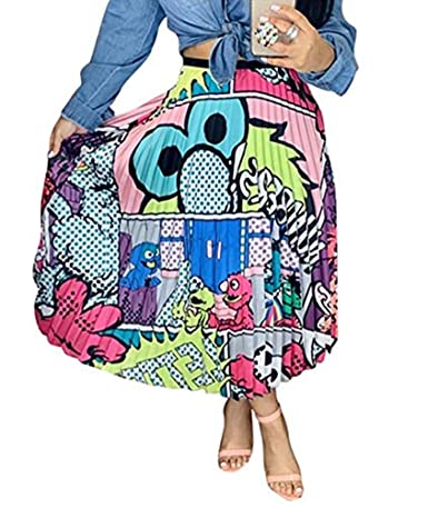 Speedle Women Color Block Graffiti Letter Print Cartton Pleated A Line Maxi Long Party Skirt by Speedle