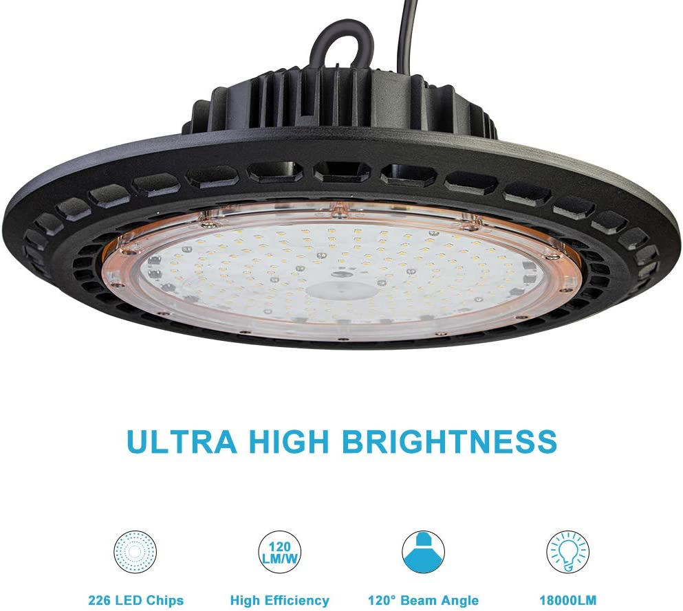 Lightdot 2 Pack 100W LED High Bay Light for Warehouse 5000K 12000LM Super Bright Factory LED Commercial Light with 5ft UL Cable Plug