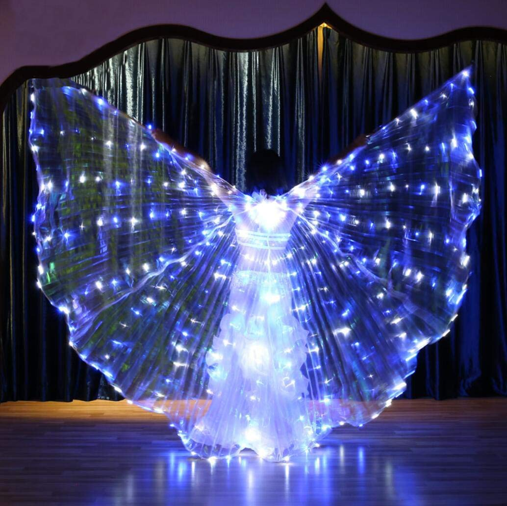 blueeandwhite Beautiful Dance Fairy Opening Belly Dance LED Isis Wings with Sticks RodsWings LED Luminous Light Up Stage Performance Props Suitable for Belly Dancing, PerformanceDiscoloration