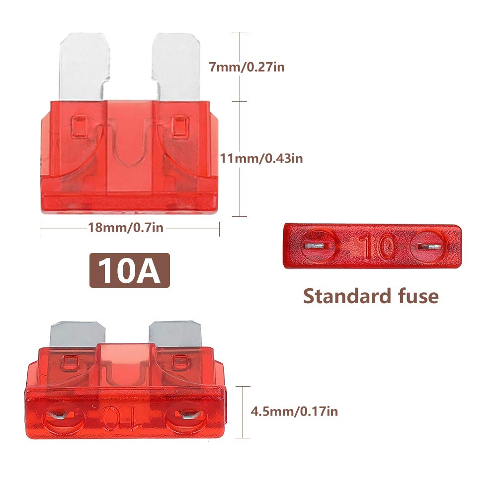 Rovtop Standard Car Fuses,150 pcs Assorted Auto Car Standard Blade Fuses Replacement Kit 2A 3A 5A 7.5A 10A 15A 20A 25A 30A 35A 40A With 1 Fuse Extrator 1 Carrying Box Car Standard Blade Fuse