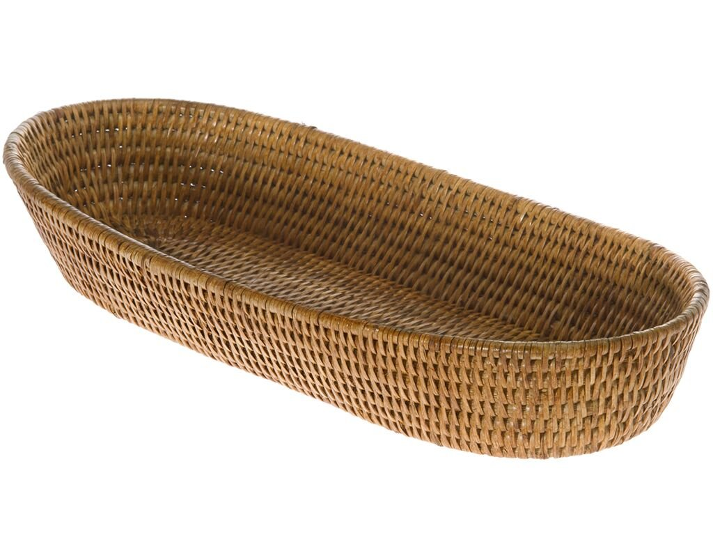 Long Honey Brown La Jolla Rattan Serving Basket