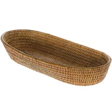 KOUBOO La Jolla Rattan Bread Basket, Honey Brown, Large