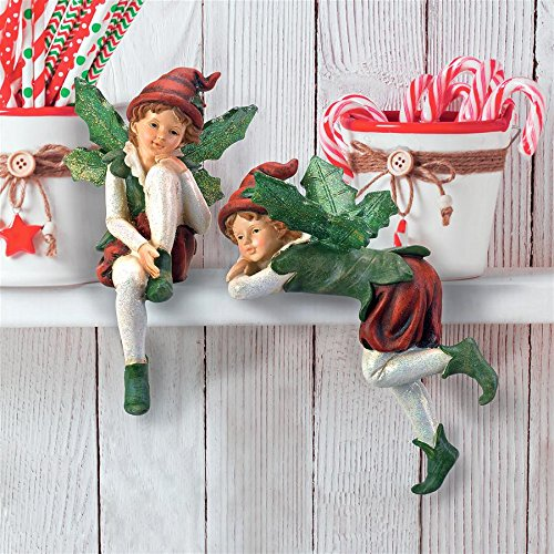 Angel Shelf Sitters - Christmas Decorations - Emmanuel and Elijah, Santa's Xmas Elf Shelf Sitter Holiday Statue