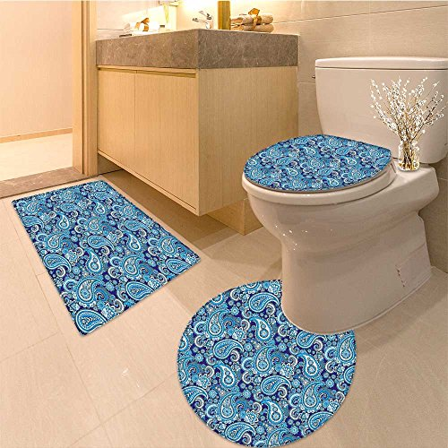 3 Piece Anti-slip mat set Traditiona Asian Pattern with d and Dots Blue Backgrounded Artwork Fabric Set with H Non Slip Bathroom Rugs by NALAHOMEQQ