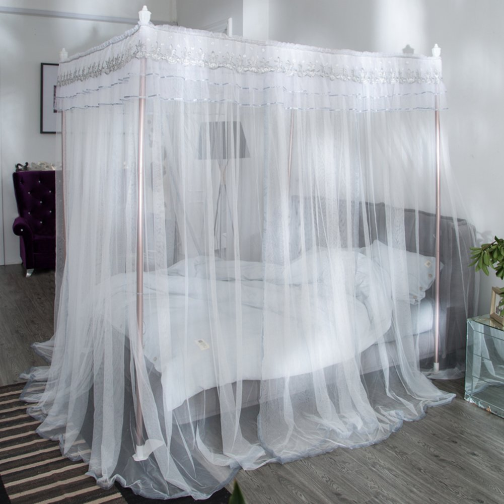 White grey supple pendant mosquito net, Double Home Princess Encryption yarn bed canopy-A Queen2