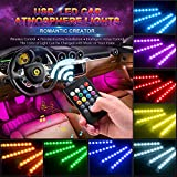 Wsiiroon Car LED Interior Lights, USB Port 4pcs 48 LED Wireless Remote Control Multicolor Music Interior Strip Lights for Car TV Home with Sound Active Function