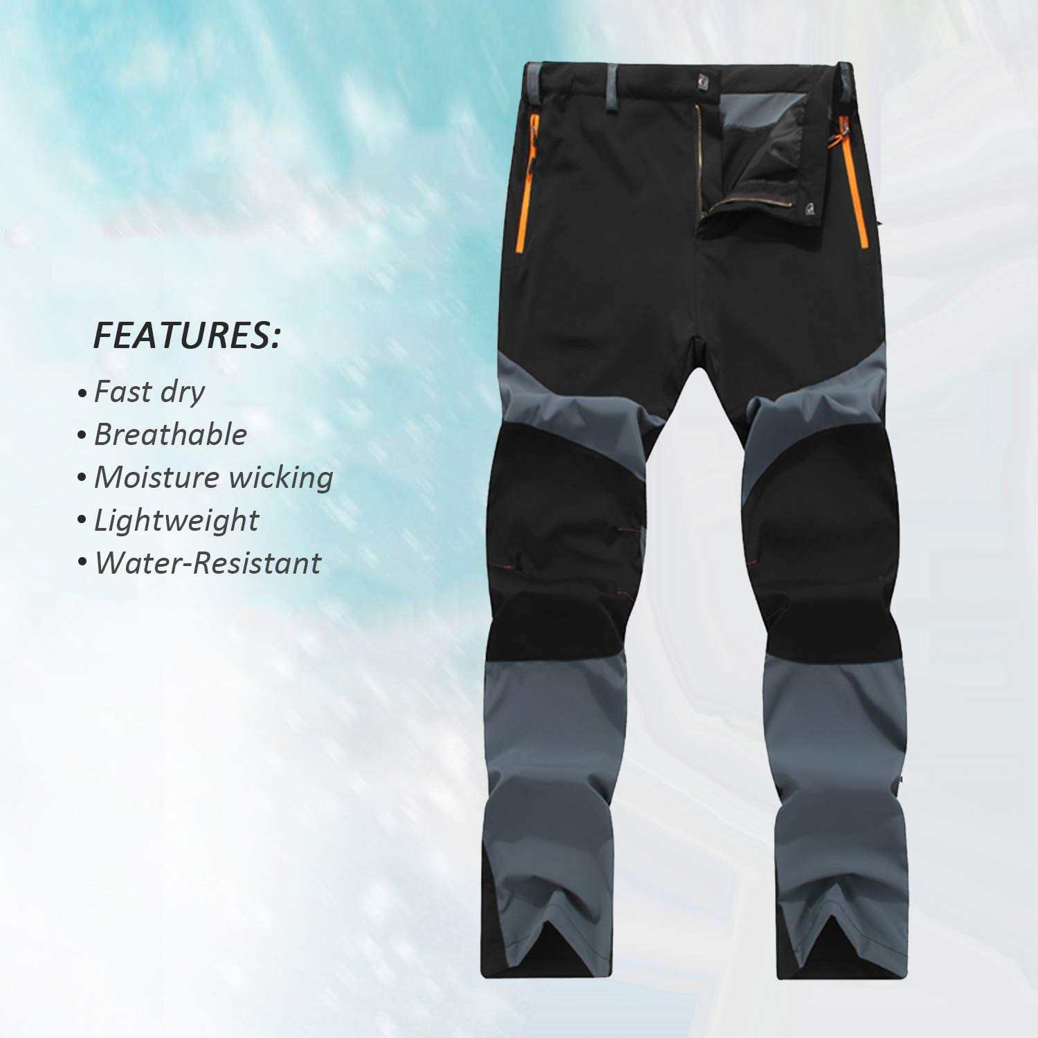 7VSTOHS Men/'s Quick Dry Lightweight Hiking Trousers Outdoor Breathable Comfy Sportswear Climbing Walking Trousers