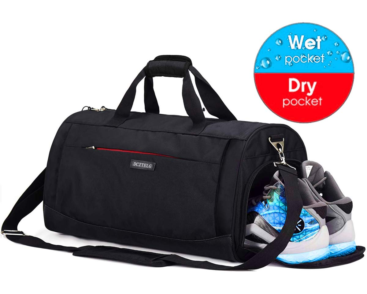 Sports Gym Bag with Shoes Compartment and Wet Pocket,Training Yoga Travel Holdall Duffle Bag for Men and Women Black