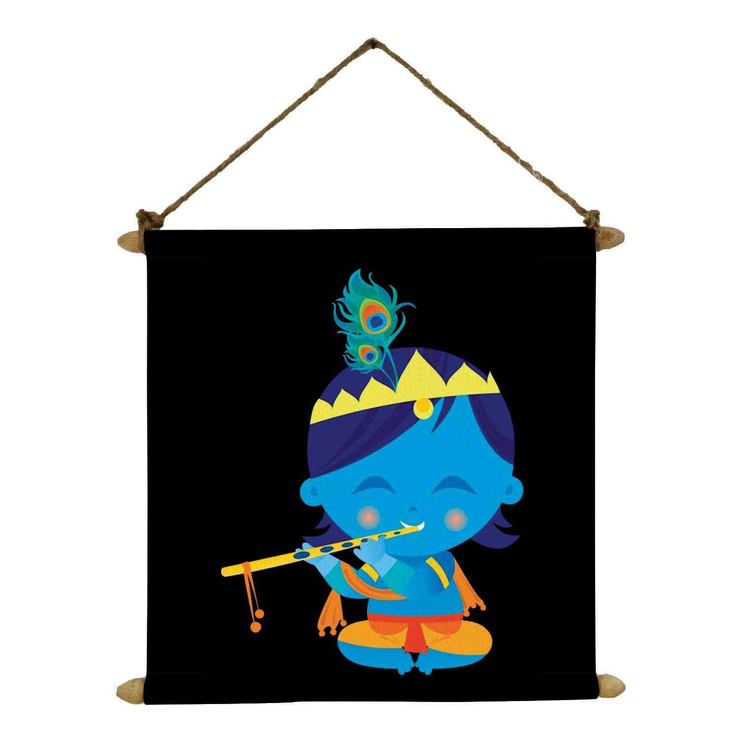 Yaya Cafe Cute Bal Krishna Poster Wall Painting Hanging Scroll Canvas 24 X 24 Inches Amazon In Home Kitchen