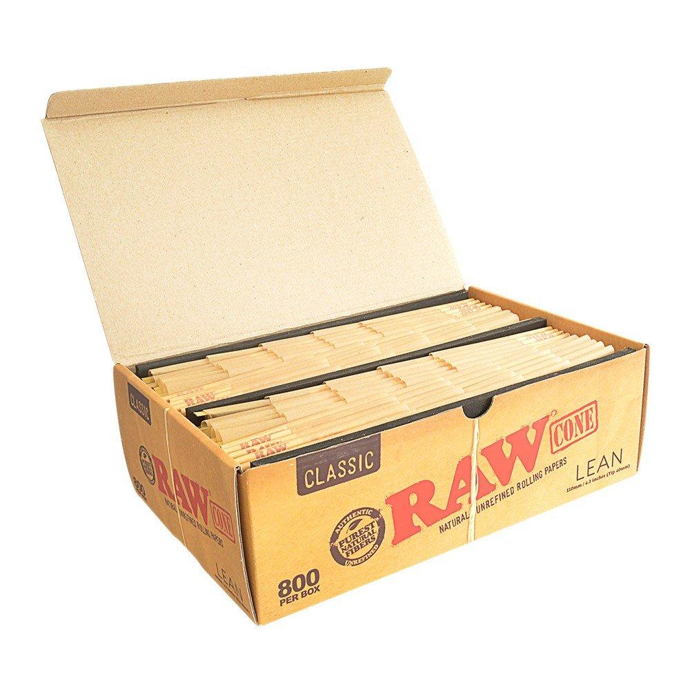 RAW Classic Natural Unrefined Pre-Rolled 800 Cone Box - Lean Size 100mm (4.3 in)