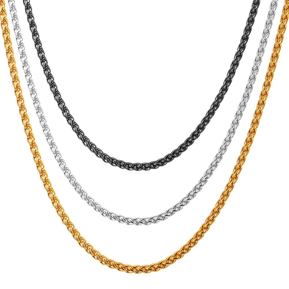 Amazon.com  U7 Stainless Steel Chain 3mm Twisted Spiga Wheat Chains 3 Pcs  Set Men Women Fashion Jewelry - 18 Inches  Jewelry f9fd05deed00
