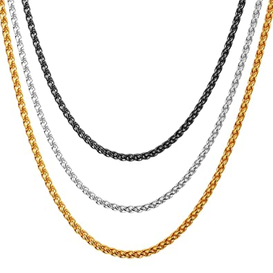 16c055366ff43 U7 Stainless Steel Chain 3mm Twisted Spiga Wheat Chains 3 Pcs Set, 18-30  inches