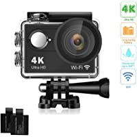 Davola 4K 16MP Underwater Waterproof Action Camera with 2 Batteries and Mounting Accessories Kit