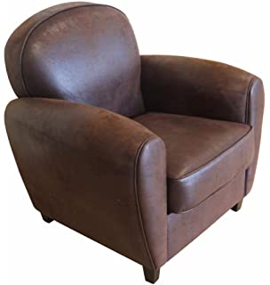 Inwood Fauteuil Club Vintage Cro te de Cuir Marron Amazon