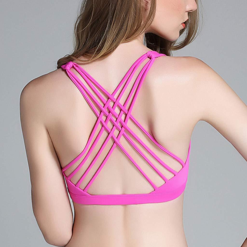 Jianekolaa_Lingerie Women's Spot Comfort Full-Support Sport Bra Seamless Crisscross Back Sport Gym Wireless Bra Hot Pink by Jianekolaa_Lingerie (Image #4)