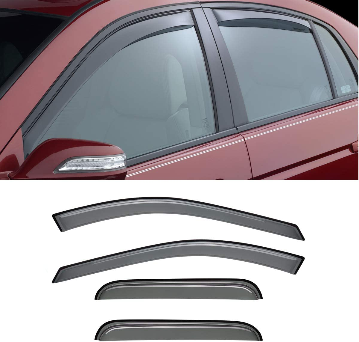 Gevog 4pcs Original Side Window Deflector Tape-On Style Window Visors for 04-08 Acura TL Sun//Rain Guard Ventvisor Not Fit Early 2004 Model