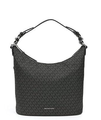7ca6d359ae84 Amazon.com: NEW AUTHENTIC MICHAEL KORS LUPITA LARGE LEATHER SHOULDER HOBO  (Black Signature): Clothing