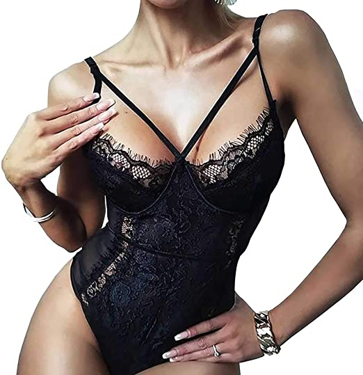 Sofias Choice Womens Floral Lace Teddy Lingerie See Through Bodysuit One Piece