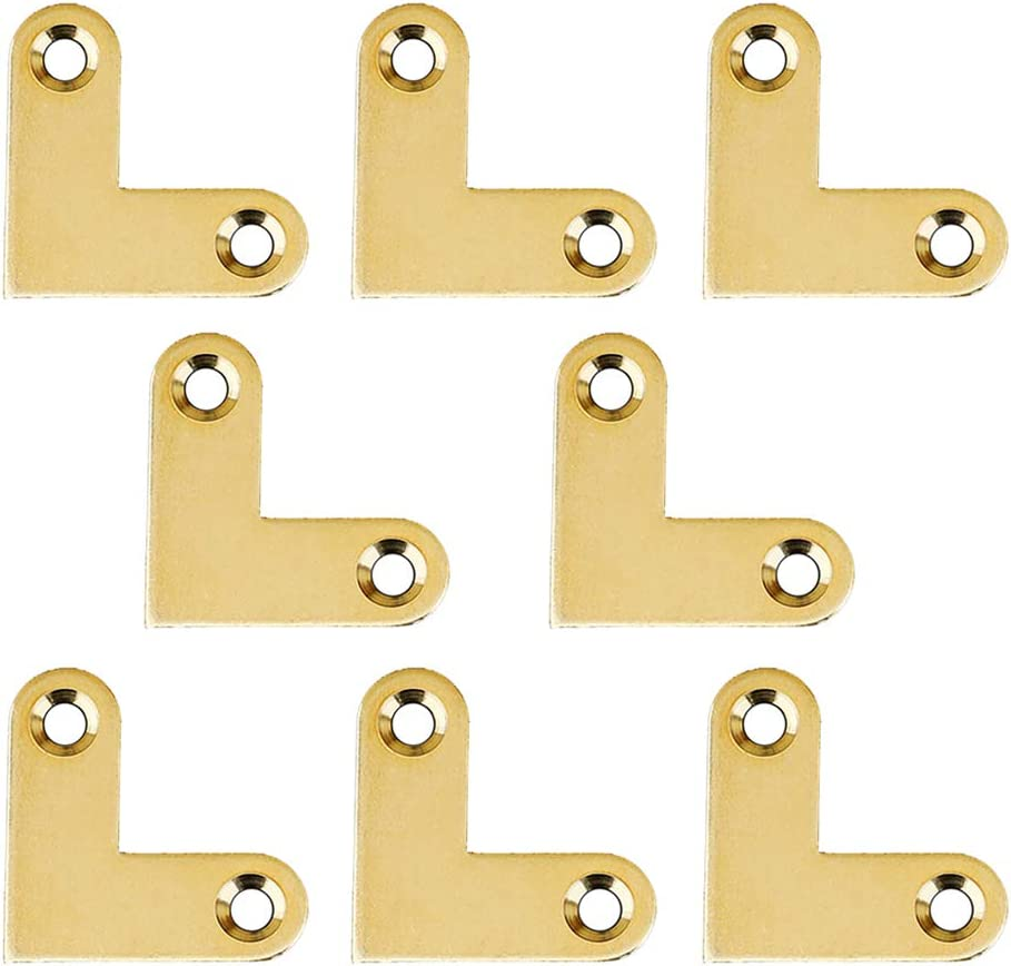Tiazza 8Pcs Antique L Shape Brass Flat Corner Bracket Joint Flat Corner Brace Plate Support Drawer Fixed Corner Code (Gold)