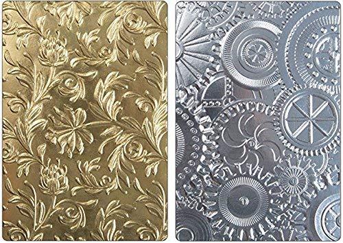 (Tim Holtz Sizzix 3D Texture Fades Embossing Folders - Botanical and Mechanics - 2 item bundle)