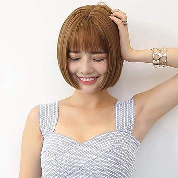 Luziang Peluca para Mujer,Peluca Pelo Corto Mujer Moda Realista Aire golpea Cabeza en Cabeza
