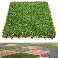 Anmas Home 2PCS Indoor Outdoor 1x1ft Synthetic Artificial Grass Turf Tile Interlocking Self-draining Mat