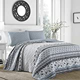 3 Piece Grey Medallion Floral Stripe Theme Quilt Full/Queen Set, Beautiful Girly Boho Chic Horizontal Patchwork Striped Print, Southwest Tribal Aztec Printed Reversible Bedding, Vibrant Color Charcoal