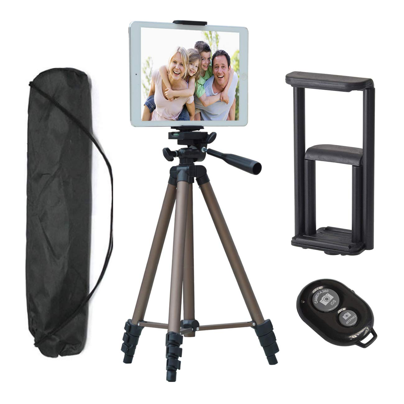 Tripod for iPad iPhone Camera Tablet,50-inch Aluminum Alloy Tripod + Wireless Remote + 2 in 1 Mount Holder for Smartphone (Width 2-3.2''),Tablet (Width 4.3-7.2'') by TESVERO