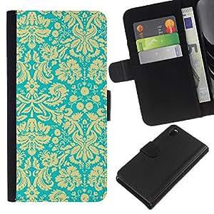 KLONGSHOP // Tirón de la caja Cartera de cuero con ranuras para tarjetas - Modelo del papel pintado floral amarillo de la vendimia - Sony Xperia Z3 D6603 //