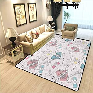 Retro Rectangle Ultra Soft Area Rugs Youthful Teenager Grunge Pattern with Sneakers Photo Cameras Glasses Birds and Stars Soft Comfy Area Rugs for Bedroom Multicolor W5xL6 Ft