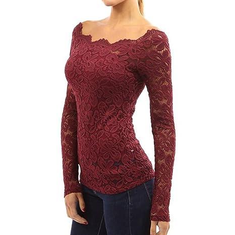 Hibote Mujeres Elegante Camisa Flores Tops Blusas Con Barco Cuello OL Negocio Fiesta Camiseta Tops 34-44: Amazon.es: Ropa y accesorios