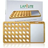 Laptop Lap Desk Bamboo with Aluminum Mouse Pad & Cell Phone/Tablet dock, Small Portable for Travel, Vented Tray for Cooling and Gaming, Works with any iPhone, MacBook Air/Pro, iPad mini, or Mouse