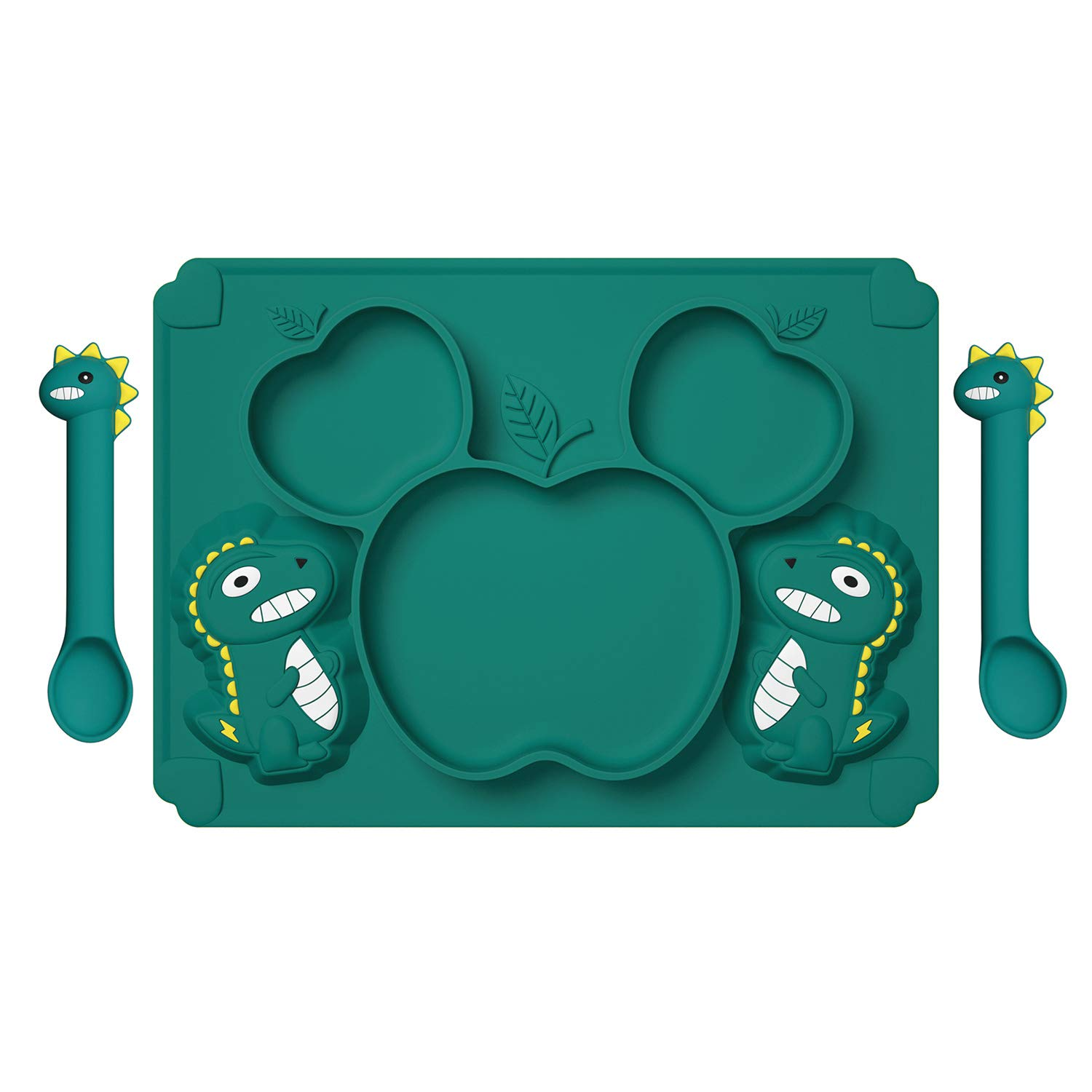 Toddler Plates for Baby Feeding;Silicone Baby Plates with Deep Divided for Kids to Feed Themselves,Baby Place Mats with Cute Dinosaur Design,BPA Free (Dark Green Toddler Plate)
