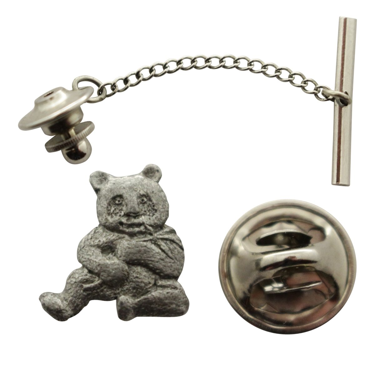 Panda Tie Tack ~ Antiqued Pewter ~ Tie Tack or Pin ~ Sarah's Treats & Treasures G.G. Harris STT-M496-TT