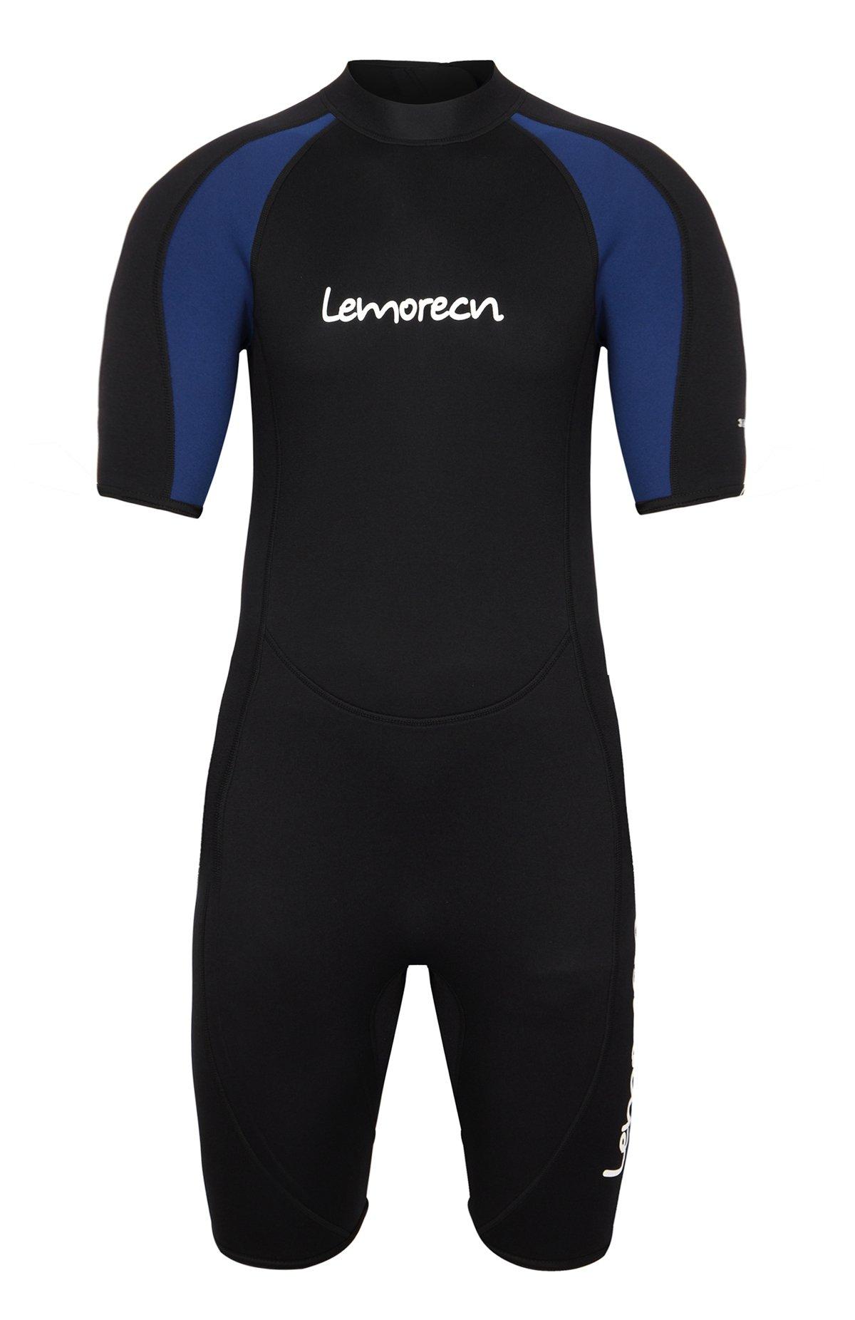 Lemorecn Wetsuits Mens Premium Neoprene Diving Suit 3mm Shorty Jumpsuit(3035,2XL) by Lemorecn (Image #3)